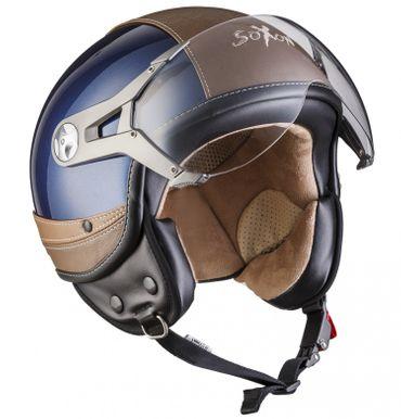 SOXON SP-325 Urban blue Jethelm LEDER Vespa Jet Roller Helm Motorradhelm XS S M L XL – Bild 1