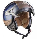SOXON SP-325 Urban blue Jethelm LEDER Vespa Jet Roller Helm Motorradhelm XS S M L XL