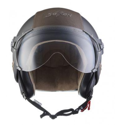 SOXON SP-325 Urban titan Jethelm LEDER Vespa Jet Roller Helm Motorradhelm XS S M L XL – Bild 3