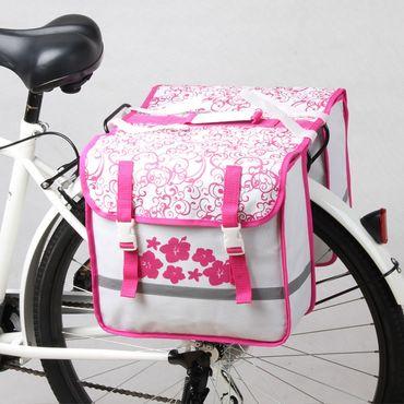 Doppel Gepäckträger Tasche Fahrradtasche Blume – Bild 1