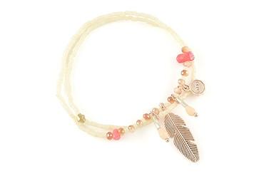Lizas Armband pink mit Feder, 18cm
