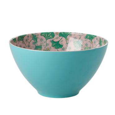 Rice Melamin Salatschüssel Tow Tone Jade with Leave and Flowers Print