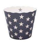 Krasilnikoff Happy Bowl, groß, charcoal mit Sternen