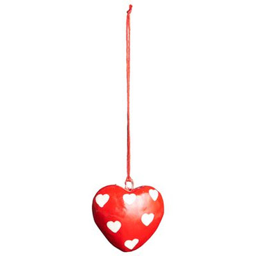 IB Laursen Herz-Anhänger, rot mit Herzen, 4 cm