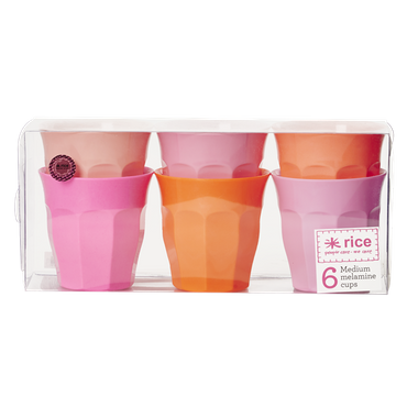 Rice Becher groß, 6er Set, pink/orange Töne