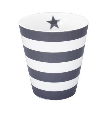 Krasilnikoff Happy Mug, dunkelgraue Streifen
