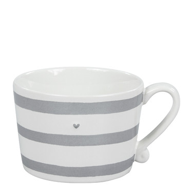 Bastion Collections Tasse Becher, weiß/grau gestreift