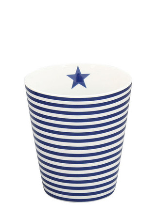 Krasilnikoff Happy Mug, blau gestreift
