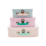 Rice Kinder Koffer-Set, 3teilig, rosa, Prints