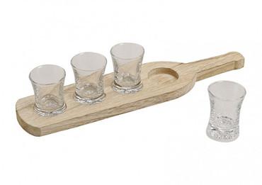 Schnapsgläser-Set auf Holztablett, 5-teilig