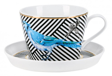 Miss Etoile Tasse mit Unterteller  BIRD AND STRIPES