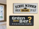 """Gilde Metallschild """"Grillen ohne Bier?..."""" (Foto unten)"""