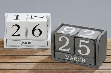 Boltze Dauerkalender, Holz, grau