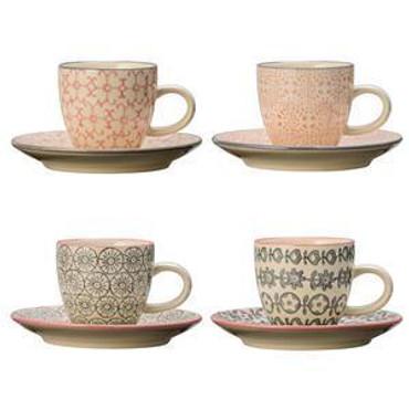 Bloomingville, Cécile Espresso Cup&Saucer, 4-er Set