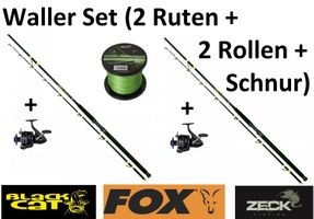Waller Set- 2 Black Cat Ruten 3,20m+ 2 Fox Rollen+ Zeck Hulkine 380m