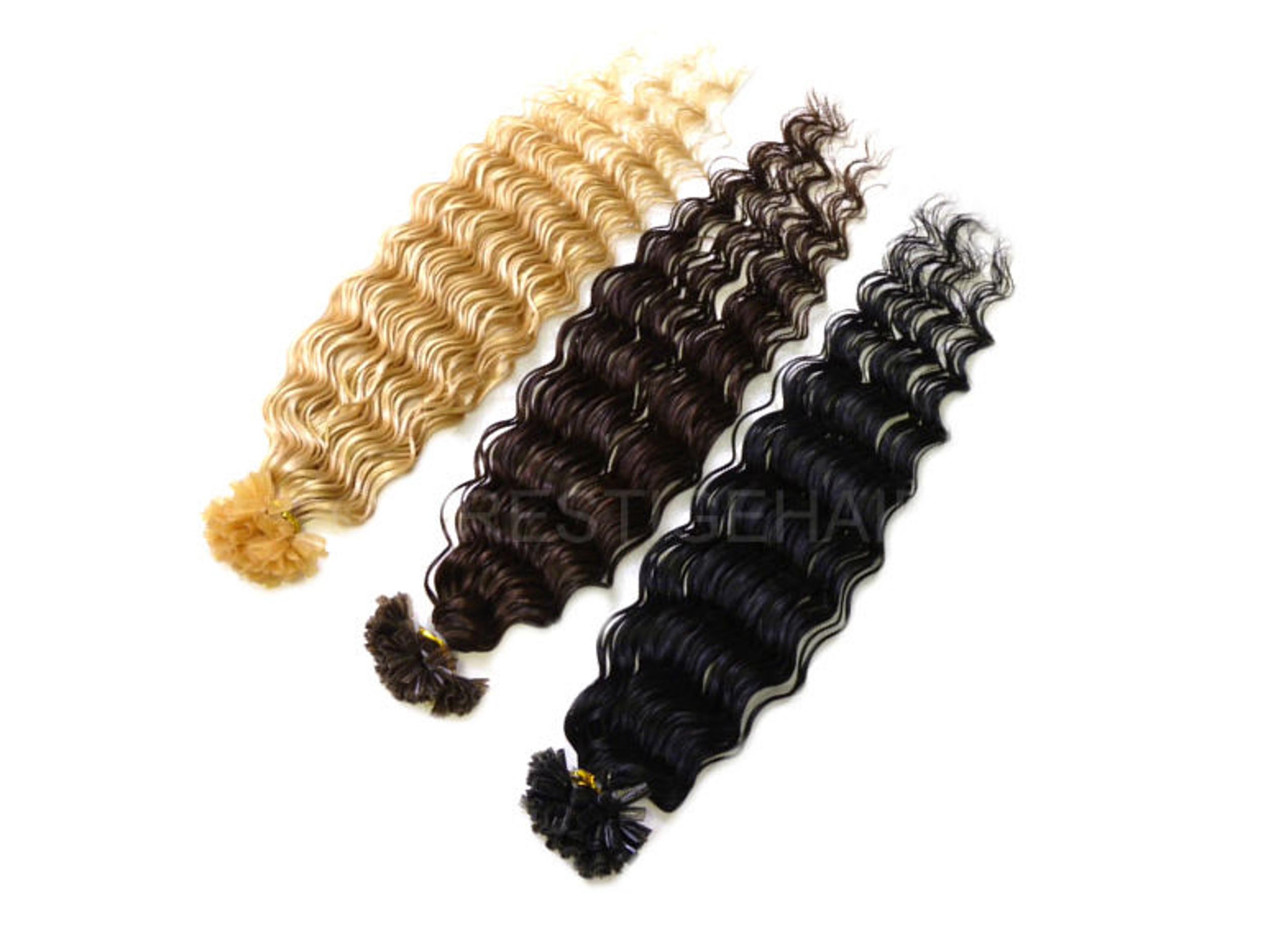 stark gewellte Keratin Bonding Extensions 100% Remy Echthaar Haarverlängerung